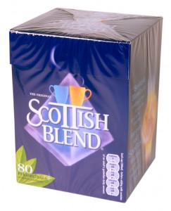 Box of Scottish Blend tea bags.